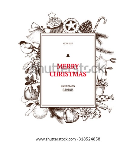 Vintage Christmas decoration.  Vector holiday invitation or greeting card  design with ink hand drawn elements. Hand sketched Christmas and New Year illustration. - stock vector