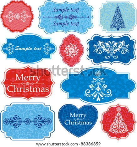 Vintage Christmas Design elements for scrapbook. Old tags and frames with place for your text isolated on White background. Vector illustration - stock vector