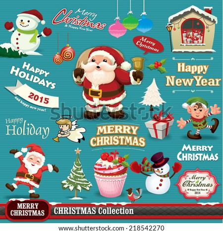 Vintage Christmas design set  - stock vector