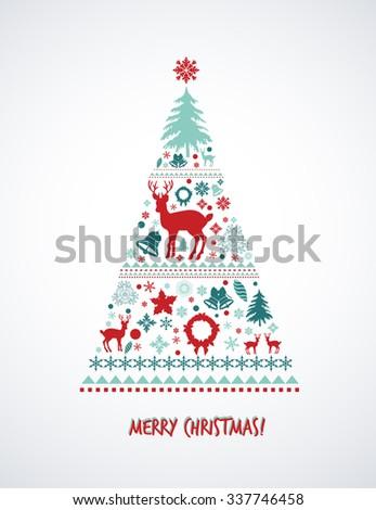 Vintage Christmas elements, Christmas tree  - stock vector