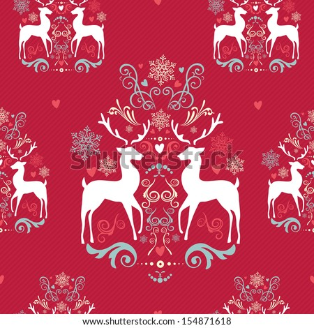 Vintage Christmas elements, reindeer, snowflakes and heart shapes seamless pattern background. EPS10 vector file organized in layers for easy editing. - stock vector