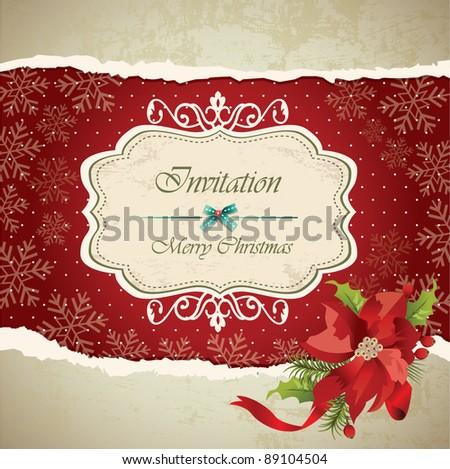 Vintage christmas frame background 04 - stock vector