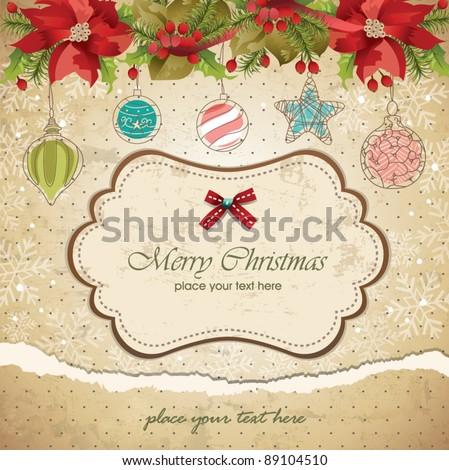 Vintage christmas frame background 06 - stock vector