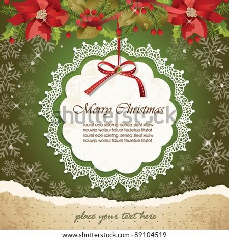 Vintage christmas frame background 05 - stock vector