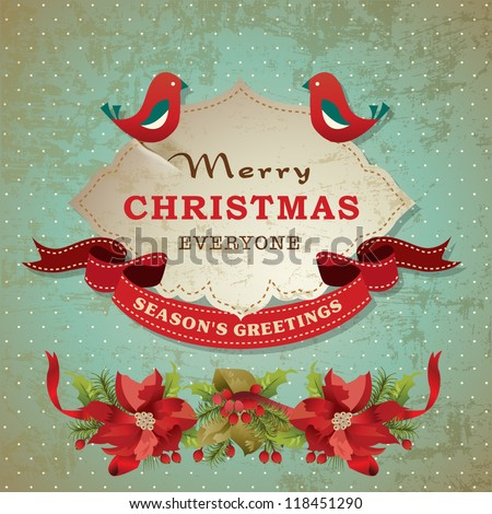 Vintage christmas frame background with birds and poinsettia flowers - stock vector