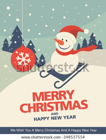 Vintage christmas greeting card design with Snowman in a sledge - stock vector