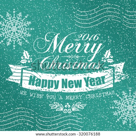 Vintage Christmas greeting card - Holidays lettering on a winter snow background - stock vector