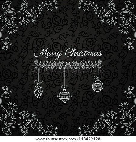 Vintage Christmas greeting card on dark pattern - stock vector