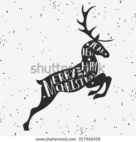 Vintage Christmas greeting card with reindeer. Merry christmas and a happy new year. Grunge texture. T-shirt design, label, decor elements, greeting and postal cards. - stock vector