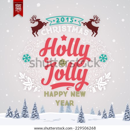Vintage Christmas Greeting Card With Typography Holiday Label Design. Winter Landscape Background with Blurred Xmas Trees and Snowflakes. - stock vector