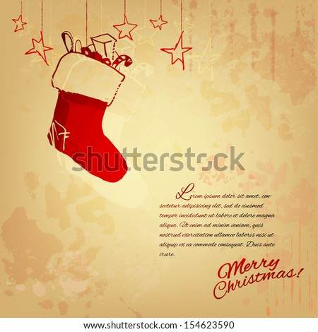 Vintage Christmas illustration - stock vector