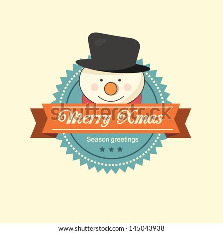 Vintage Christmas label with a happy snowman with a red scarf - stock vector