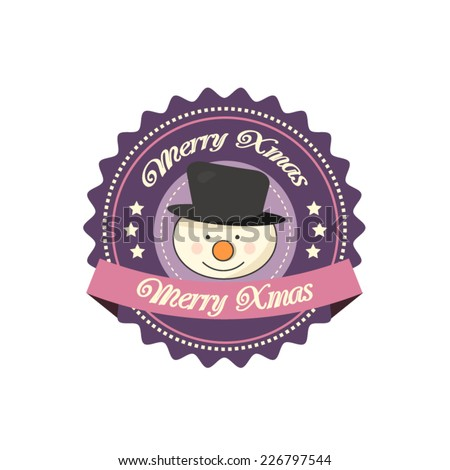 Vintage Christmas label with a smiling snowman - stock vector