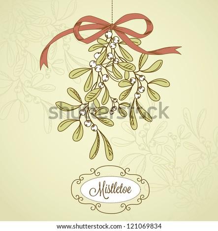 Vintage Christmas Mistletoe - stock vector