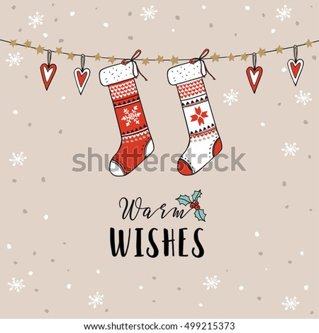 Vintage Christmas New Year Greeting Card Invitation Traditional Decoration Hanging Knitted Socks