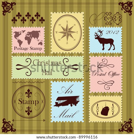Vintage Christmas postage stamps illustration collection background - stock vector