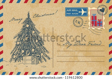 Vintage Christmas Postcard - stock vector