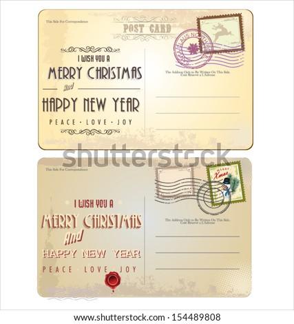 Vintage Christmas Postcard - stock vector