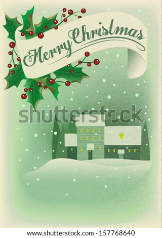Vintage Christmas Poster and Greeting Card, with soft edges, Merry Christmas banner and snowy village in the distance - stock vector