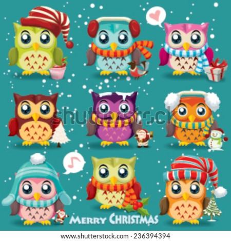 Vintage Christmas poster design with owls, Santa Claus, snowman  - stock vector