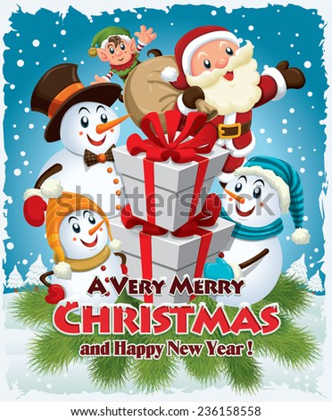 Vintage Christmas poster design with Santa Claus, Snowman, elf - stock vector