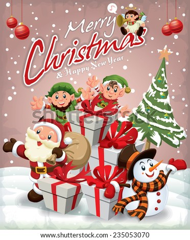 Vintage Christmas poster design with Santa Claus, Snowman, elf & angel - stock vector