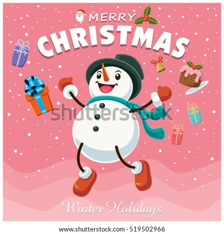 Vintage Christmas Poster Design With Snowman Characters