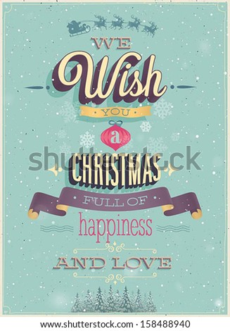 Vintage Christmas Poster. Vector illustration. - stock vector