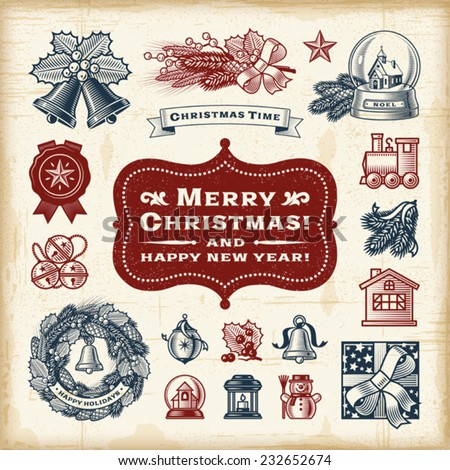 Vintage Christmas Set. Fully editable EPS10 vector. - stock vector