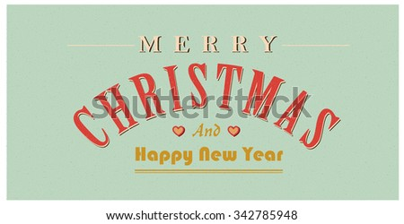 Vintage christmas sign text. Vector retro Christmas card - stock vector