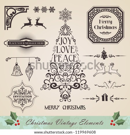 Vintage christmas swirl tree and season elements sale set. Vector illustration layered for easy manipulation and custom coloring. - stock vector