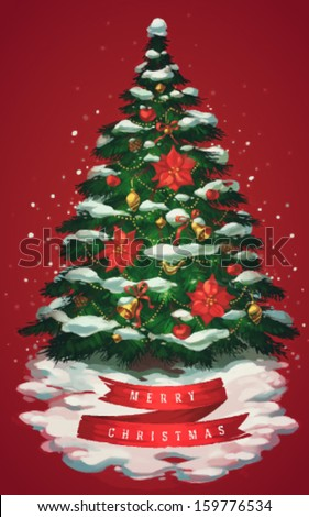 Vintage christmas tree art. Greeting card \ poster \ banner. Vector illustration. - stock vector