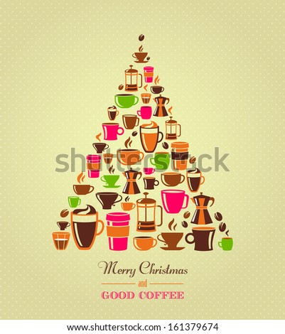 Vintage Christmas tree coffee icons - stock vector