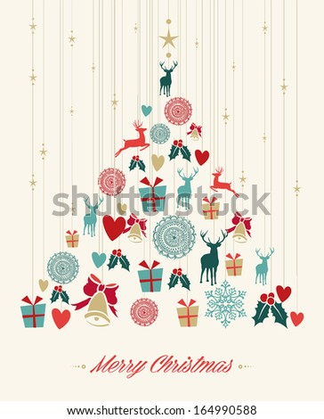 Vintage Christmas tree with hanging elements greeting card. EPS10 vector file organized in layers for easy editing. - stock vector