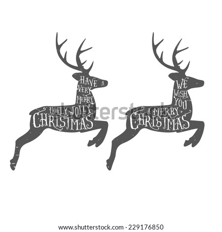 Vintage Christmas typographic greeting on a reindeer. Grunge effects are on separate layers. - stock vector