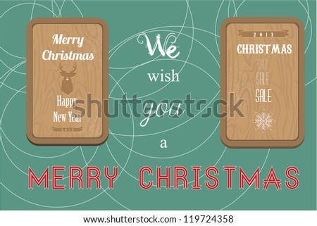 Vintage Christmas wood label - stock vector