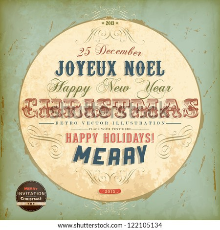 Vintage circle Christmas Card with ribbons and grunge background for Xmas retro invitation design, Joyeux Noel, eps10 illustration - stock vector