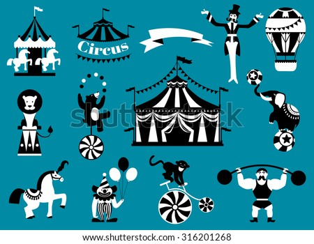 Vintage circus collection with carnival, fun fair, vector icons and background and illustration. - stock vector