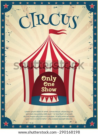 Vintage circus poster. Invitation to the show. Vector illustration. - stock vector