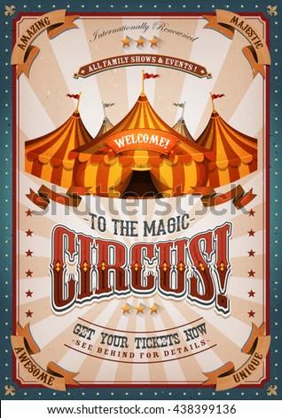 vintage circus poster big top illustration retro stock