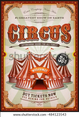 Vintage Circus Poster With Big Top Retro And Vertical Background