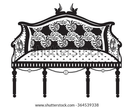Vintage Classic Bench In Rounded Shape With Rich Ornaments And Upholstery  Pattern. Vector Sketch
