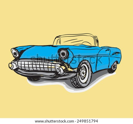 Vintage Classic car drawing vector - stock vector