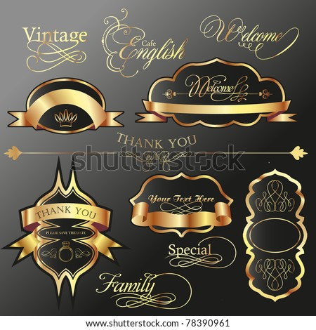 vintage classic collection- tags and labels - stock vector