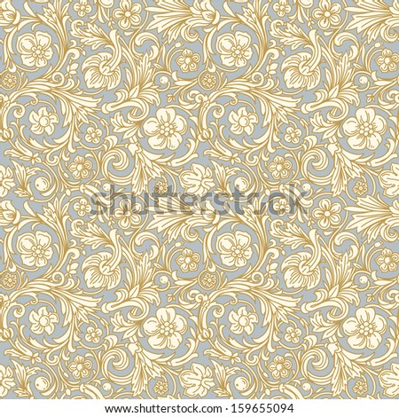 Vintage classic ornamental seamless vector pattern in baroque style. Stylized beige flowers and beige leaves with a gold outline on a light blue background. - stock vector