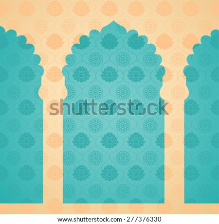 Vintage classical blue and cream Asian lotus and mandala pattern background oriental temple gates - stock vector