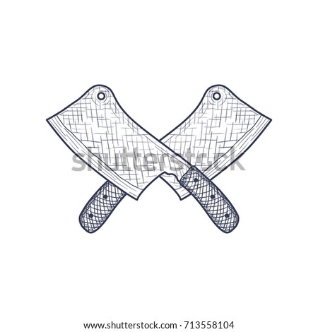 Set Crossed Kitchen Knives Vector Illustration Stock