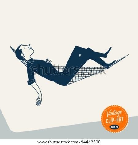 Vintage Clip Art - Man relaxing in Hammock - Vector EPS10. - stock vector