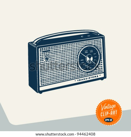 Vintage Clip Art - Radio - Vector EPS10. - stock vector