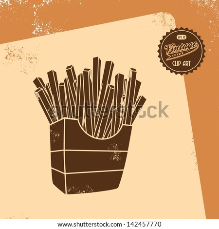 vintage clip art retro theme french fries - stock vector